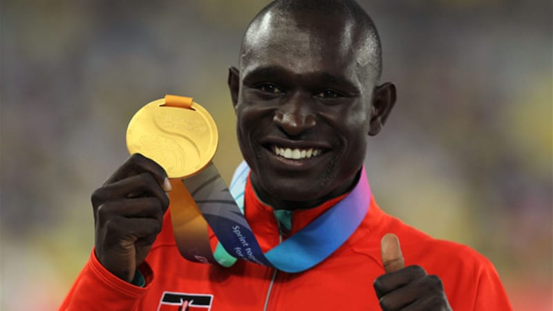 Rudisha smiles on the podium after winning 800m gold at 2011 World Championships in Daegu [GALLO/GETTY]