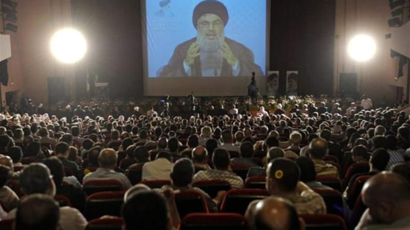 Hezbollah leader Sayyed Hassan Nasrallah delivered the speech via video link from an undisclosed location [EPA]