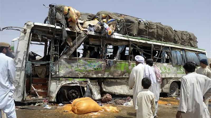 Officials said a passenger bus carrying pilgrims to Shia holy sites had passed the motorbike shortly before blast [AFP]