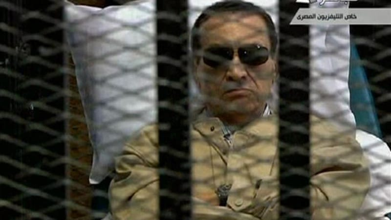 Mubarak was said to have been placed on a respirator before being moved to a hospital [Reuters]