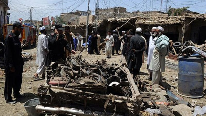 The blast appeared to be aimed at members of the pro-government Zakha Khel tribe [AFP]