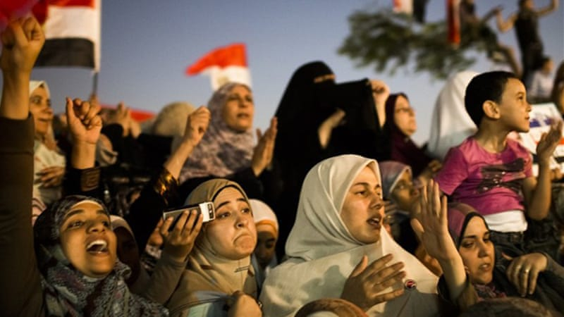 Egyptian supporters of the Muslim Brotherhood at a gathering to celebrate a premature victory for Morsi [Getty]