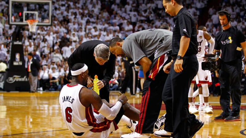 Heat coach Erik Spoelstra admired the 'sheer will' of James after he recovered from cramp to lead team [GETTY]