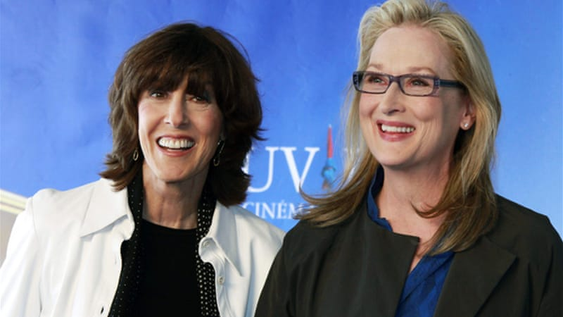"Ephron, left, worked with her friend Meryl Streep, right, on her last film, ""Julia and Julia"" in 2009 [Reuters]"
