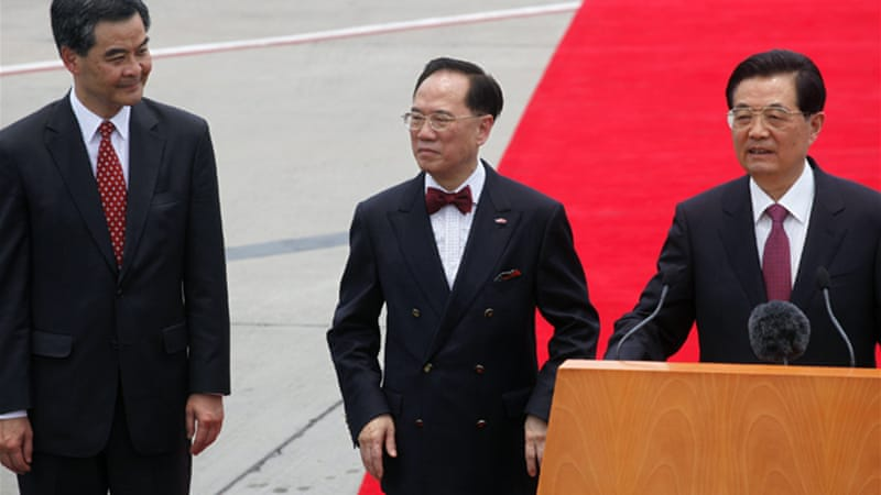 "President Hu Jintao said Hong Kong had achieved ""significant"" development since the handover in 1997 [Reuters]"