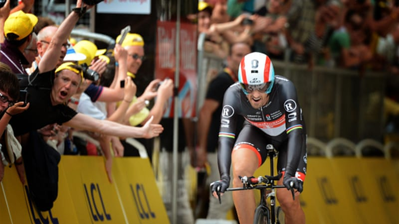 In 2004 Cancellara rode the third-fastest Tour prologue time to beat five-time winner Lance Armstrong in the opening time-trial, and achieved the same victory eight years later [EPA]