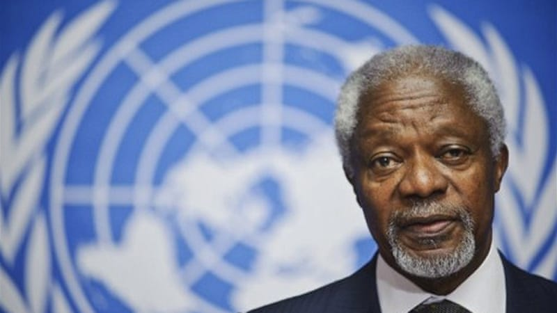 Annan said that  both Iran and Iraq have committed to supporting his six point peace plan for Syria [AFP]