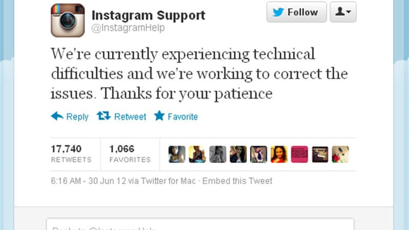 Instagram tweeted the above message to users when its service went down Friday night. [Al Jazeera]