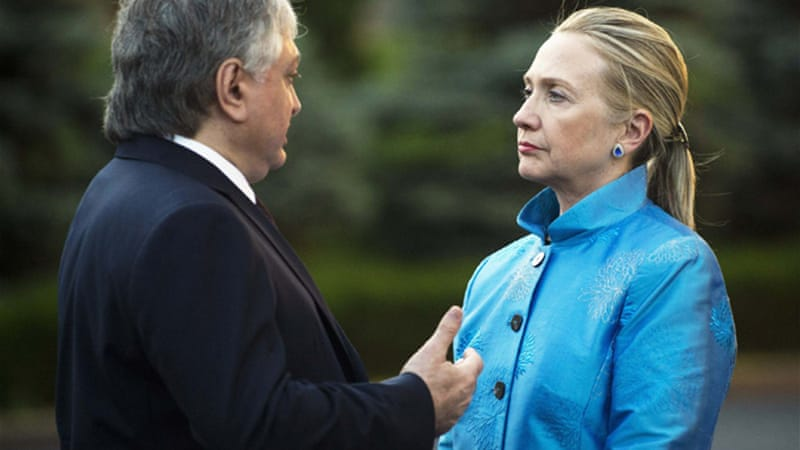 Hillary Clinton is on a tour of the region in hopes of mediating progress in territorial disputes [Reuters]