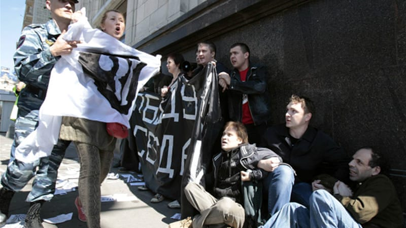 Activists protesting against the bill outside the Duma were detained [Reuters]