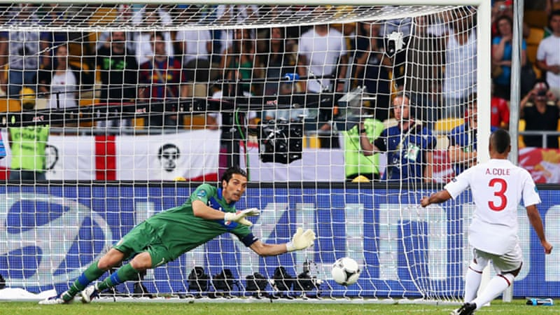 Italy's Gianluigi Buffon saves Ashley Cole's penalty as England stumble out of Euro 2012 - but is it time to see another system introduced to determined the outcome of big games? [GALLO/GETTY]
