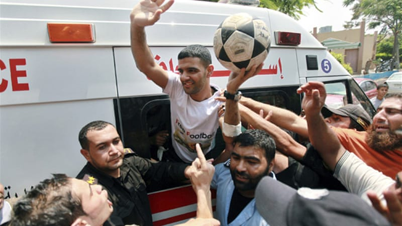 Israel released Mahmoud al-Sarsak after spending three years behind bars without being put on trial [Reuters]
