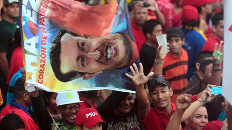 Chavez supporters in Anzoategui attended campaign rallies for his re-election [AFP]