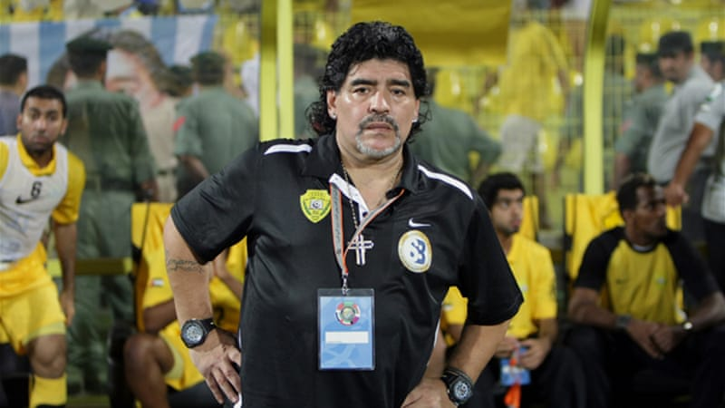 Gone but not forgotten: Maradona has been asked back to the Dubai club for a 'farewell ceremony' but it is uncertain if he will show [EPA]