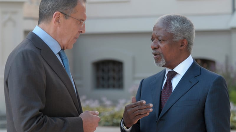 Annan has met Sergei Lavrov to seek support for tougher action against Syria over civilian killings   [AFP]