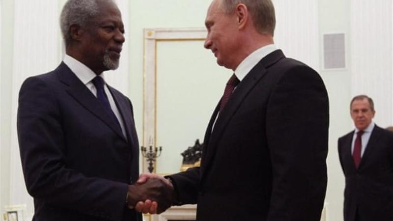 Russian President Vladimir Putin vowed to do everything to support Kofi Annan's plan for ending violence in Syria [AP]