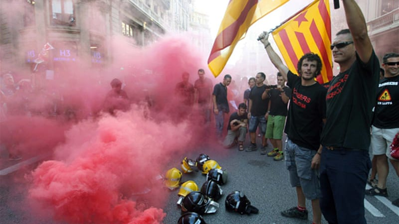 Hundreds of thousands of Spaniards have marched against the government's latest austerity measures [EPA]