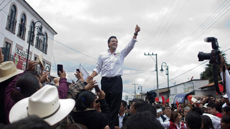 Pena Nieto was pegged to win the race by double digits in opinion polls throughout [AP]