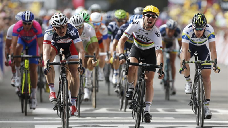 Doing it on his own: Cavendish claimed his 21st Tour stage win as Cancellara retained the race leader's yellow jersey [EPA]