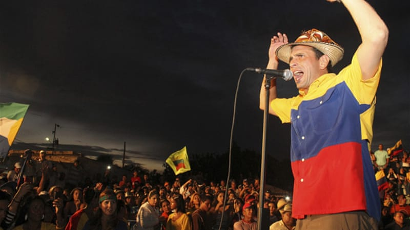 Henrique Capriles, the opposition leader running for presidency, travelled across the country to campaign [Reuters]