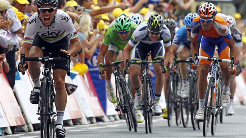 Cavendish surged down the closing straight in Brive-la-Gaillarde to win the 222.5km stage ahead of green jersey Peter Sagan [Reuters]