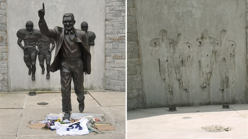Penn State's famous statue of football coach Joe Paterno has been removed following reports he knew Jerry Sandusky was being investigated for child sex abuse [Reuters]
