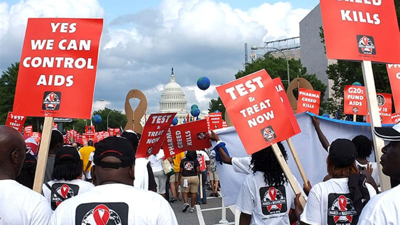 Activists rallied on the streets of Washington DC at the opening of the 19th International AIDS Conference [AFP]