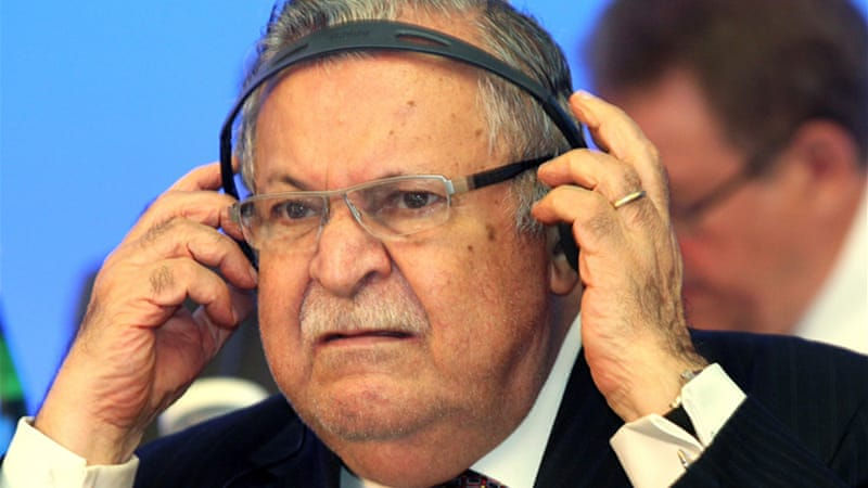 An Iraqi court refused to allow President Jalal Talabani testify in a terror trial against the Sunni vice president  [EPA]