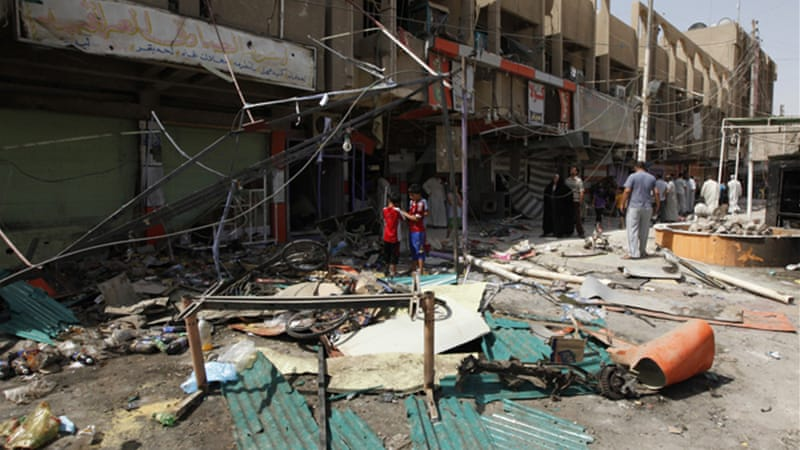 The twin blasts come a day after at least 107 people were killed in bomb and gun attacks across Iraq [Reuters]