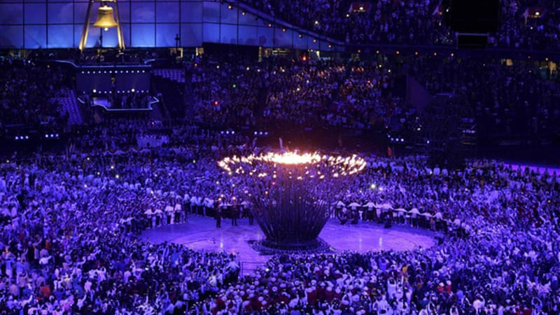 The Olympic cauldron was set alight during an extravagant opening ceremony showcasing British culture [Reuters]