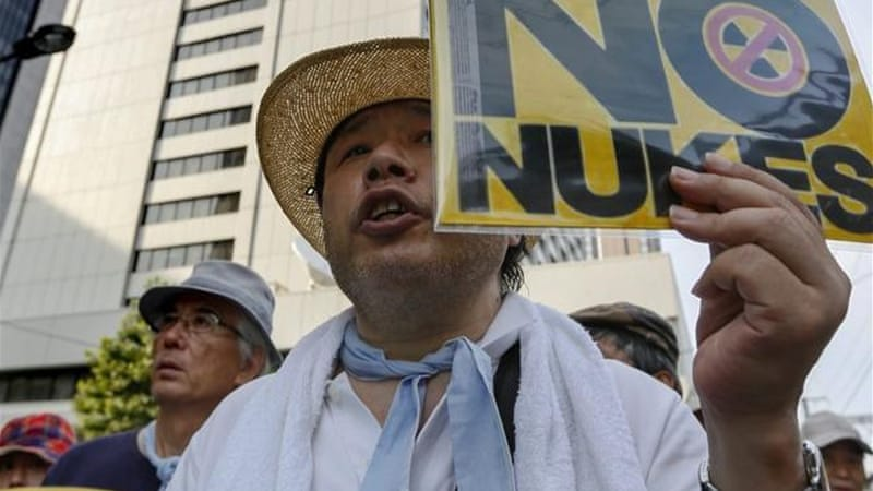 Protests against the use of nuclear power has spread all over the country since the Fukushima accident [EPA]