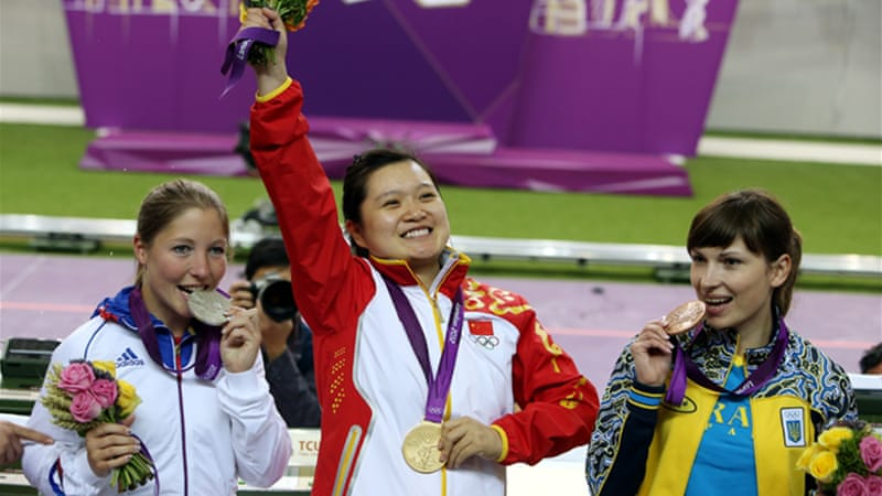 This was the second shooting gold in two days for China, a day after Yi Siling won the opening 10-metre air rifle at the Royal Artillery Barracks [EPA]