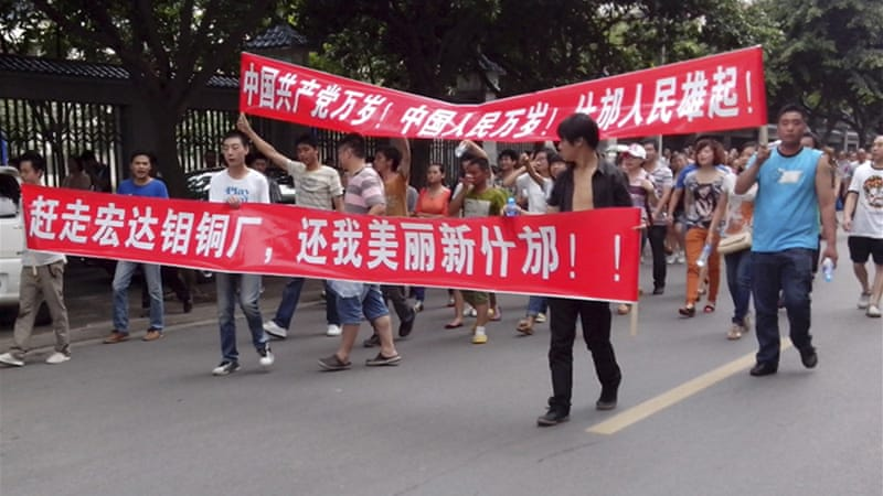 The protests in Shifang city are the latest unrest spurred by environmental concerns in China [Reuters]