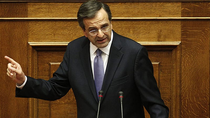 Samaras is trying to avert a crisis that could result in Greece leaving the 17-nation eurozone [EPA]