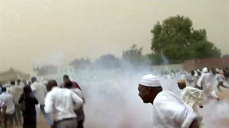 On Friday security forces fired tear gas at worshippers trying to leave a mosque to demonstrate after prayers [AFP]