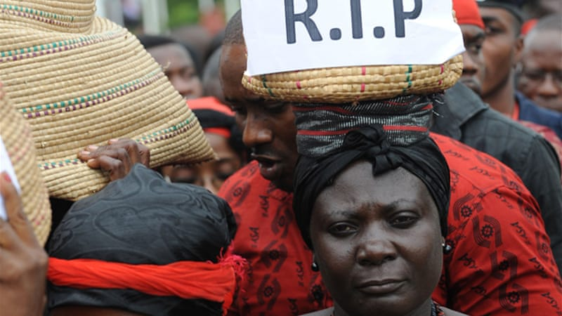 Ordinary Ghanaians were among thousands of mourners who attended Mills' funeral in the capital Accra [AFP]