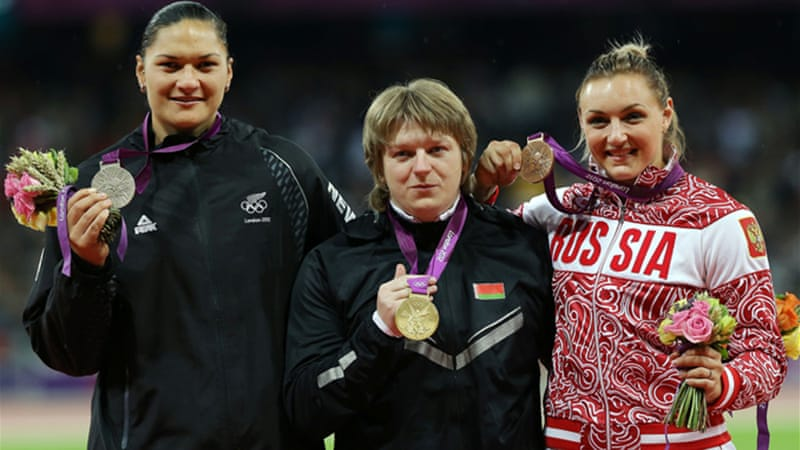 New Zealander Valerie Adams will now be awarded the gold, Russia's Evgeniia Kolodko will take the silver and China's Lijiao Gong will receive bronze [EPA]