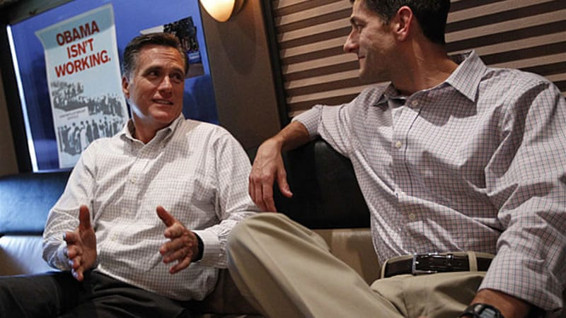 Romney, left, will formally be nominated at the convention as the Republican presidential candidate [Reuters]