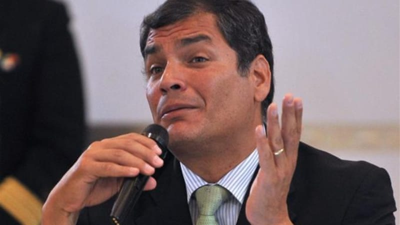 Rafael Correa says he fears WikiLeaks founder could face death penalty if tried in United States [AFP]