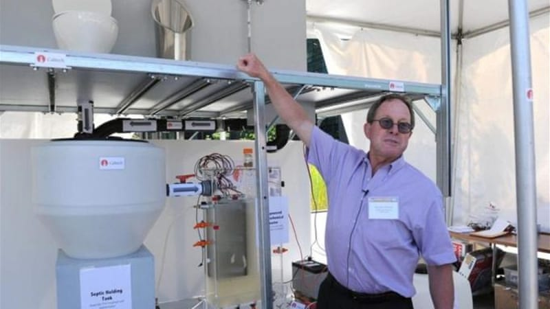 Professor Michael Hoffman's design toilet is solar powered, generating hydrogen gas and electricity  [EPA]