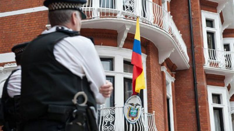 Julian Assange remains hold up in the Ecuadorian embassy in London while a diplomatic spat ensues [AFP]