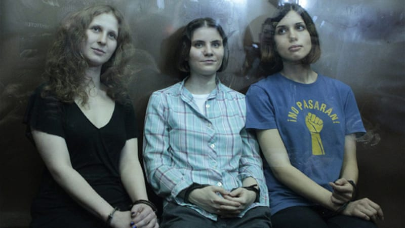 A judge sentenced three members of Russian feminist punk band Pussy Riot to two years in August [Reuters]