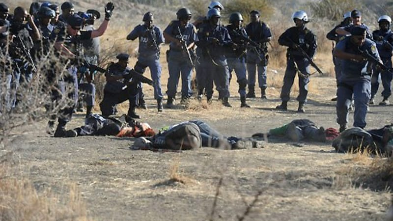 Thirty-four miners were killed and 78 wounded when police opened fire at Marikana, near Rustenburg [AFP]