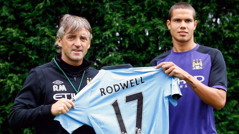 After losing out on Robin Van Persie to bitter rivals United, Mancini's sole signing so far has been Everton's midfielder Jack Rodwell [GALLO/GETTY]