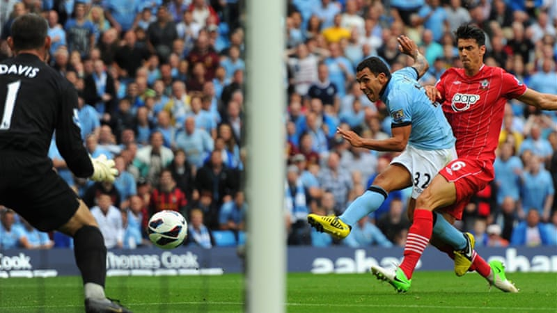 Carlos Tevez opened the scoring for the defending champions in the 40th minute at Eastlands [GALLO/GETTY]