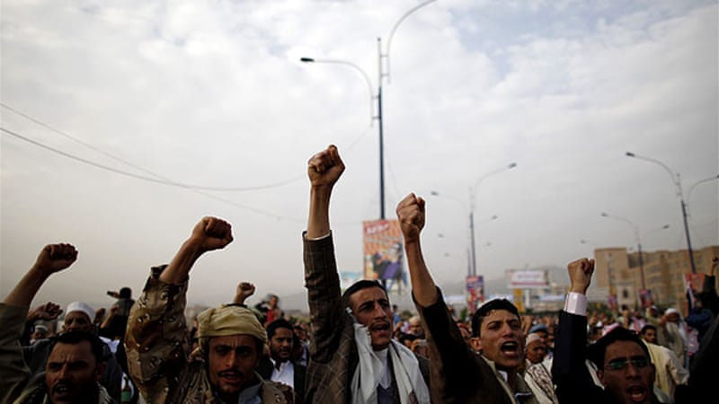 Protesters rallied to demand reforms during Eid al-Fitr prayers in Sanaa [Reuters]