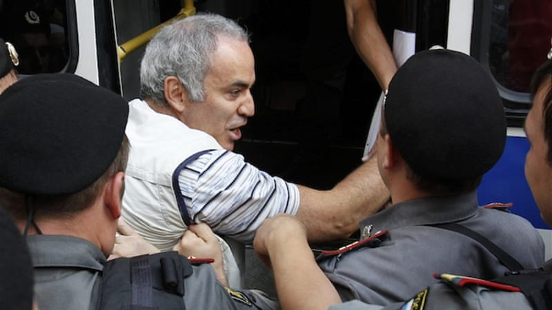 Kasparov was detained during a protest in support of the feminist punk band Pussy Riot [Reuters]