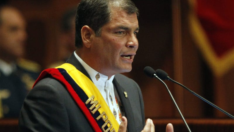 Correa has fought with media in his own country but has framed the row as taking on a 'colonial' power [EPA]