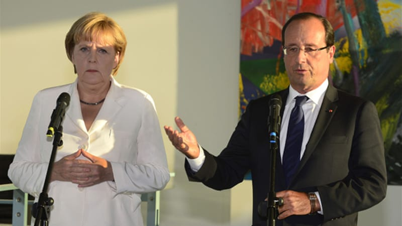 "Merkel and Hollande will try to project confidence they can replicate the ""Merkozy"" alliance [AFP]"