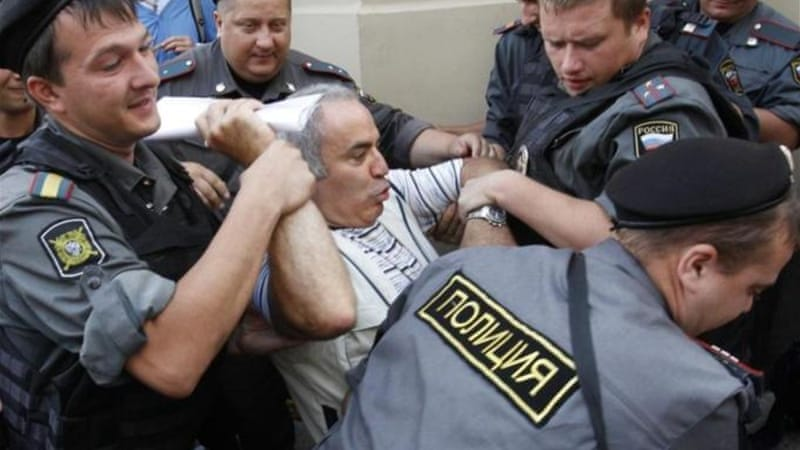 Kasparov was among about 100 protesters who were detained outside of the Pussy Riot verdict reading [Reuters]